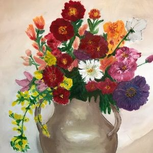 "Original Oil Painting flowers Still 15x19"""